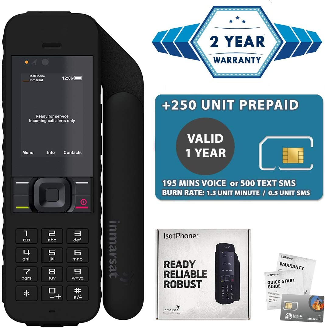 2019 Unlocked IsatPhone 2.1 Satellite Phone with 250 Units Prepaid SIM Card Valid 6 Months - Voice, SMS, GPS Tracking, Emergency SOS Global Coverage - Water Resistant 61l4-F92FqL