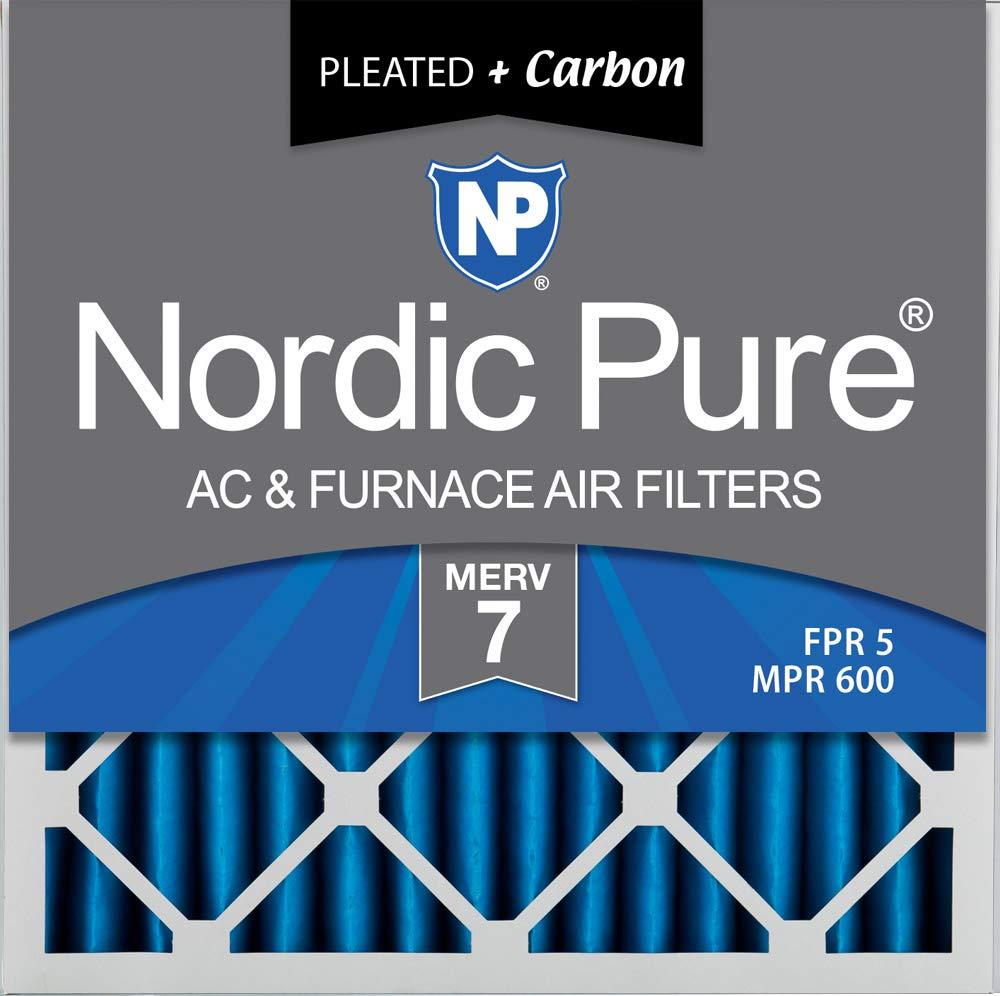 Qty 3 Nordic Pure 16x16x2 MERV 7 Plus Carbon AC Furnace Air Filters