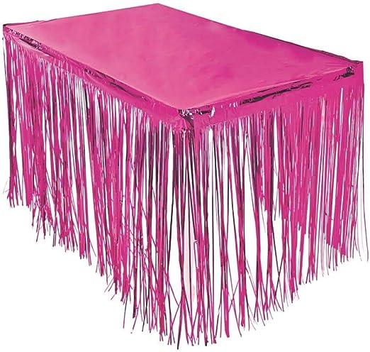 Fun Express - Faldón de mesa con flecos color rosa de 274,32 x 73 ...