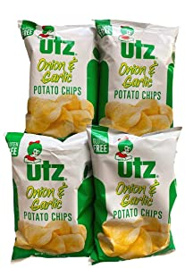 Utz Quality Foods Potato Chips Onion and Garlic Gluten Free 2.875 oz (Pack of 4)