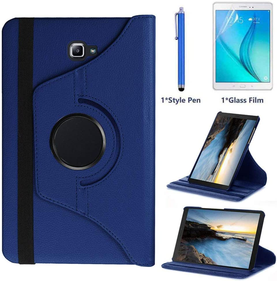 Case for Samsung Galaxy Tab A 10.1 inch (SM-T580 SM-T585), 360 Degree Rotating Stand Case Smart Protective Cover,with Stylus Pen,Screen Film (Deep Blue)