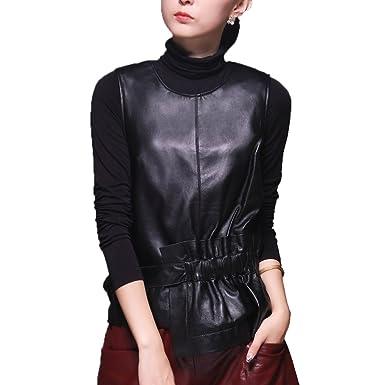 b017b6960ce Jiashibao Women Pure Sheep Leather Sleeveless Irregular Peplum Top Elastic  Waist Round Collar Back Zipper (