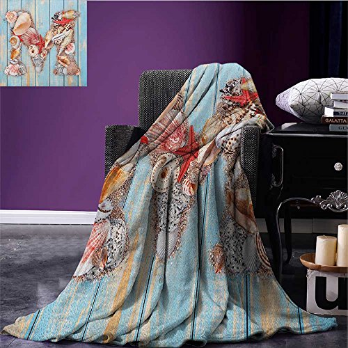 Letter M Patterned blanket Aquatic Inspirations with a Wooden Background Ocean Pale Colored beach blanket Pale Blue Ivory Dark Coral size:59