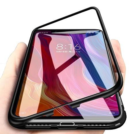 DoubTech Funda Xiaomi Mi 8 Lite Carcasa Adsorcion magnetica Tecnología Imanes Fuertes Incorporado Aluminio híbrido Cuadro atrás Transparente Vidrio ...