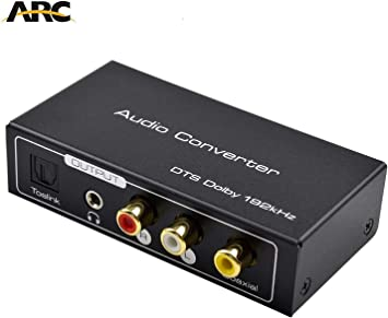 AMANKA HDMI ARC Audio Extractor, Digital HDMI ARC a SPDIF coaxial óptico RCA L/R salida estéreo 3,5 mm 192 KHz Digital HDMI Audio a analógico para Blu-ray DVD PS4 TV: Amazon.es: Electrónica