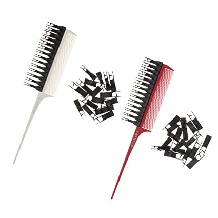 Homyl 2 Pedazos Cepillo de Tenido de Pelo Pincel de Realce Peine de Plástico