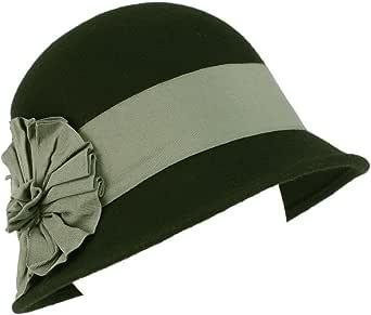 Wool Winter Cloche Bucket Bell Ribbon Bow Hat Black Gray