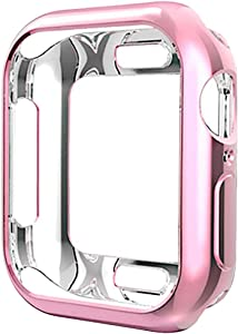 Compatible with Apple Watch Case Series 4 40mm, New iWatch TPU Protective Cover Bumper Compatible with 2018 Apple Watch Series 4 (40mm-Rose Pink)