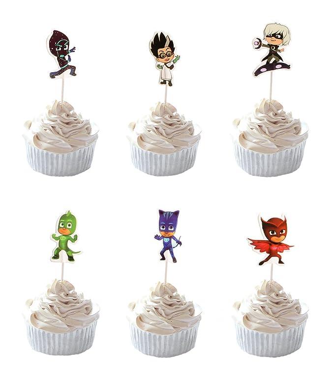 Amazon.com: Fiesta colmena 24pc PJ máscara Cupcakes para ...