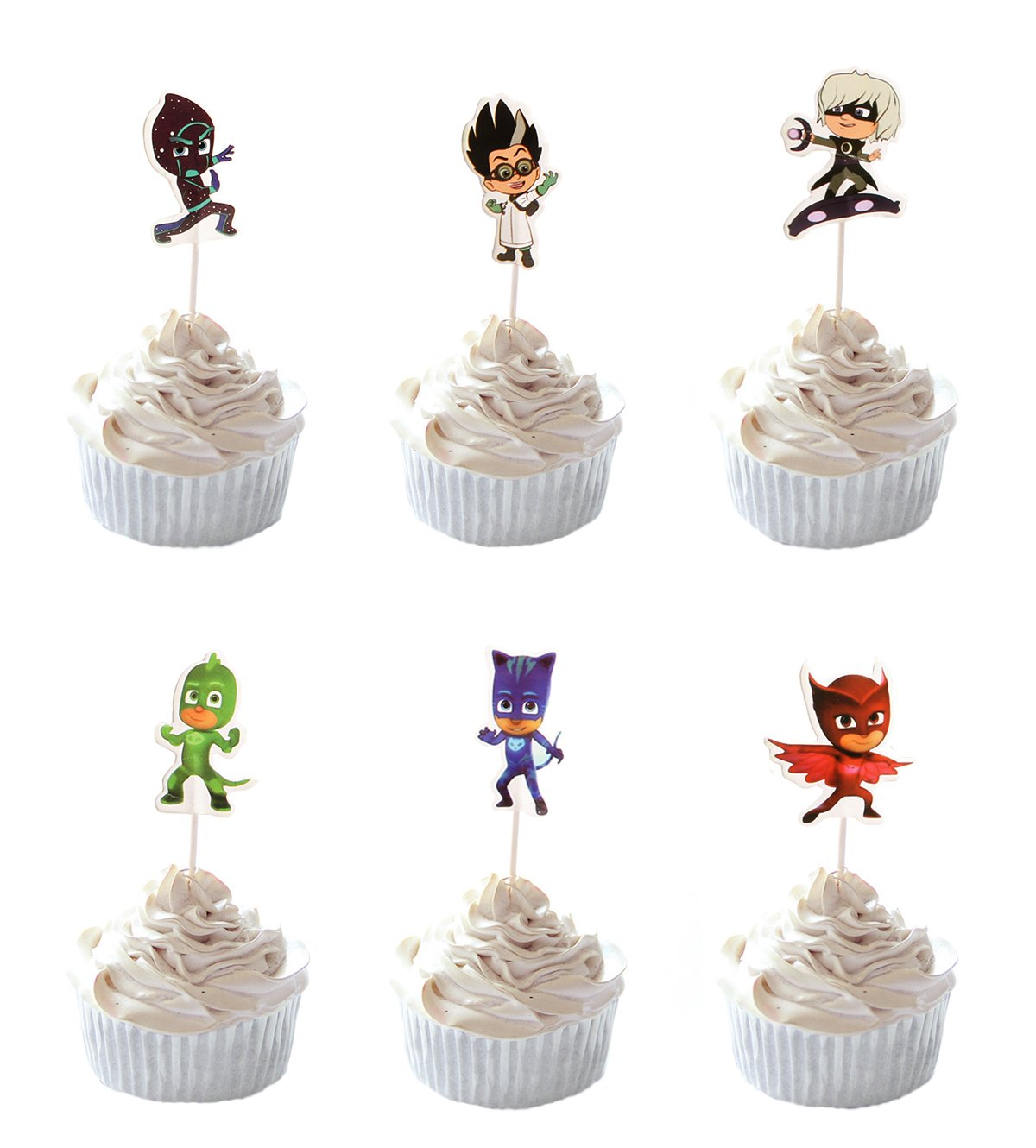 Party Hive 24pc PJ Mask Cupcake Toppers for Birthday Party Event Decor
