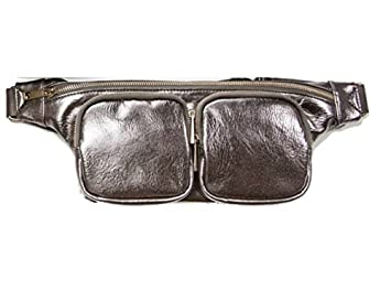 d53730a86db6 Image Unavailable. Image not available for. Color: Hang Accessories Women's  Silver Grey Metallic Vegan Leather Travel & Festival Fanny Pack Hipster Belt  Bag