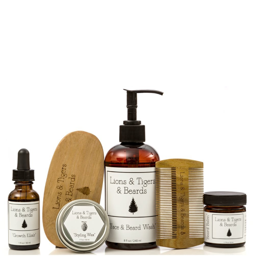 Beard Grooming ''Bundle'' - Includes Beard Oil - Beard Balm - Face and Beard Wash - Mustache Wax - Premium Sandalwood Comb & Brush - All Natural - Organic Ingredients