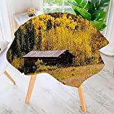 French Provincial Coffee Table aolankaili Table Decoration Durable-Rustic Hut with Shedding Faded Leaf Meadow Provincial Yellow Brown for Home Kitchen Dining roomWaterproof Coffee Tablecloth 67