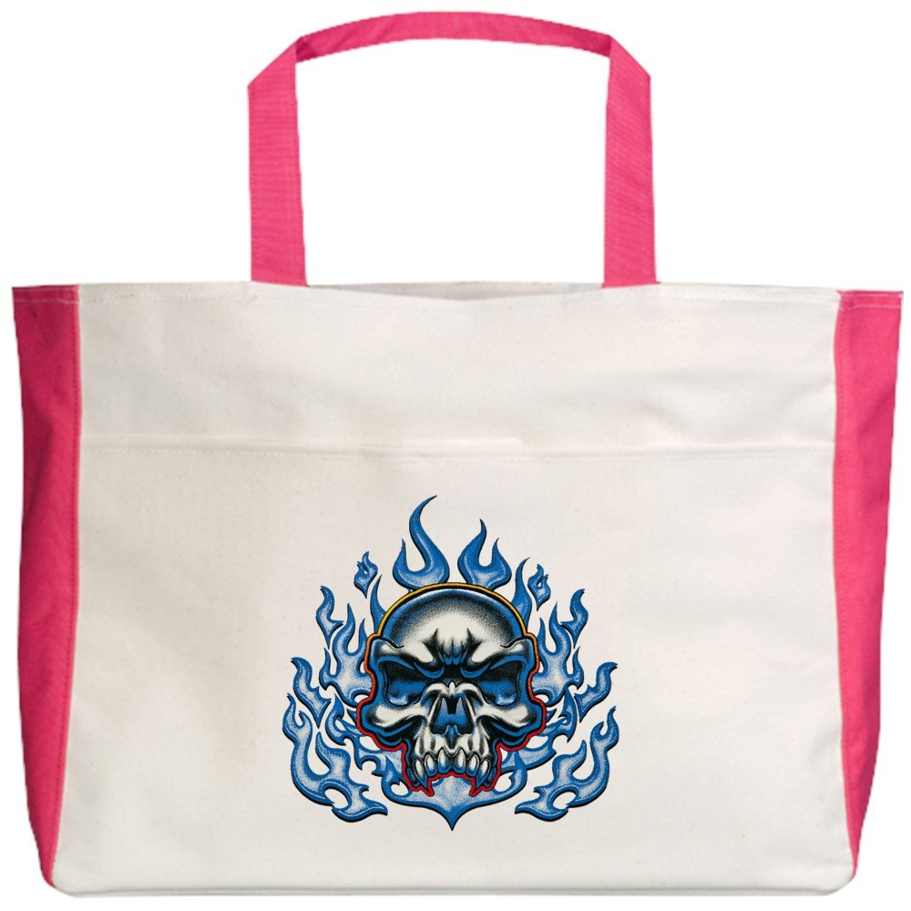 Royal Lion Beach Tote (2-Sided) Skull in Blue Flames - Fuchsia