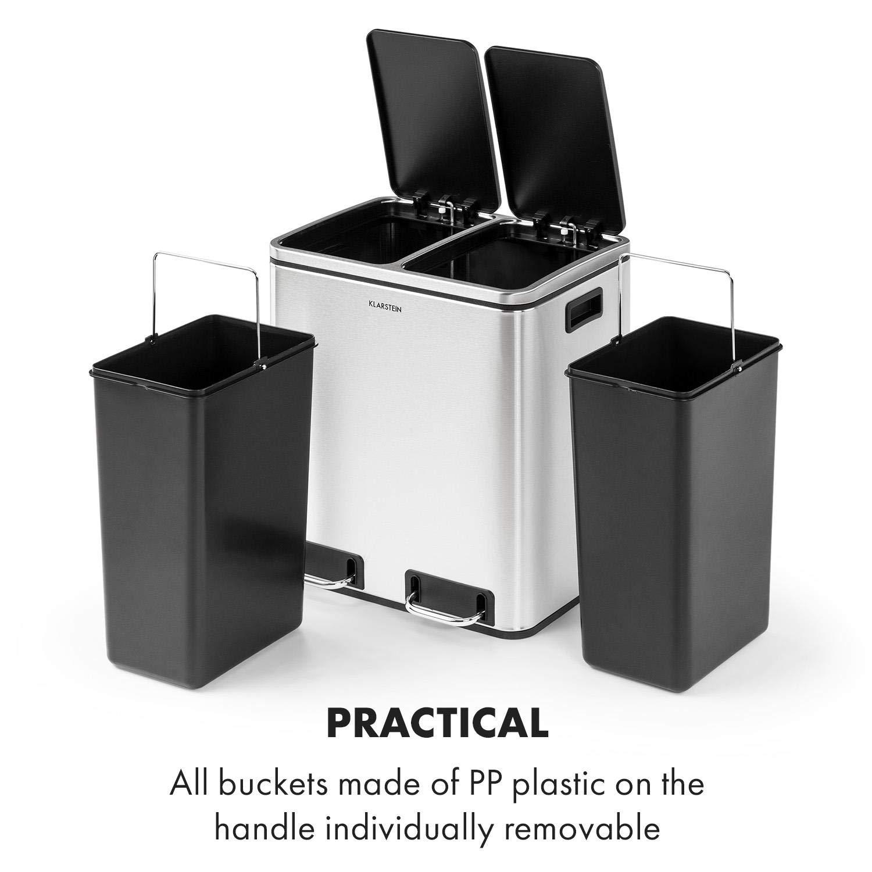 acero inoxidable negro 30 litros de capacidad con 2 cubos de 15 litros Material: PP//carcasa de acero inoxidable Tiradores reciclada Klarstein Trash Gordon Papelera