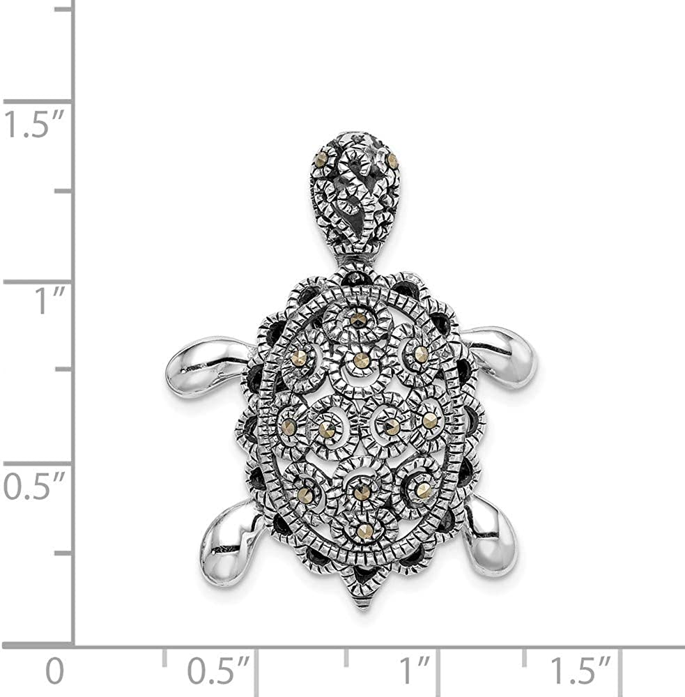 Sterling Silver Rhodium-plated Marcasite Turtle Pin