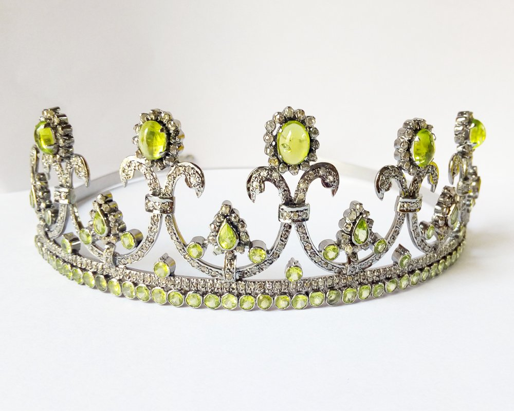 Handmade Rose Cut Diamond Tiara - Wedding Rose Cut Diamond Crown - 925 Sterling Silver Tiara Crown - Diamond 925 Silver Tiara - Handmade Tiara - Hair Jewelry