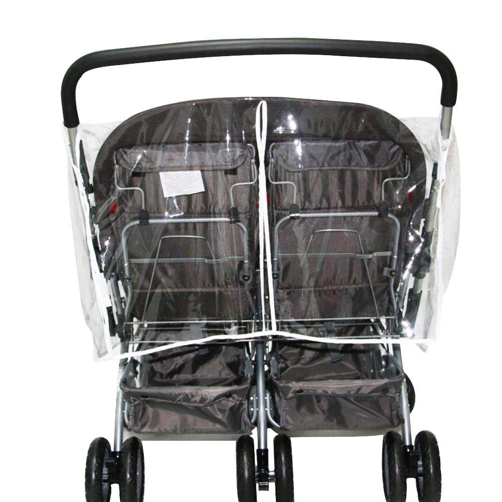 Double Stroller Universal Rain Cover,Cherry-Lee for Most Pushchair Pram Baby Stroller Rain Cover With Zip Front Opening Buggy Throw Over Rain Cover PVC Transparent Waterproof Wind Rain Weather Shiel
