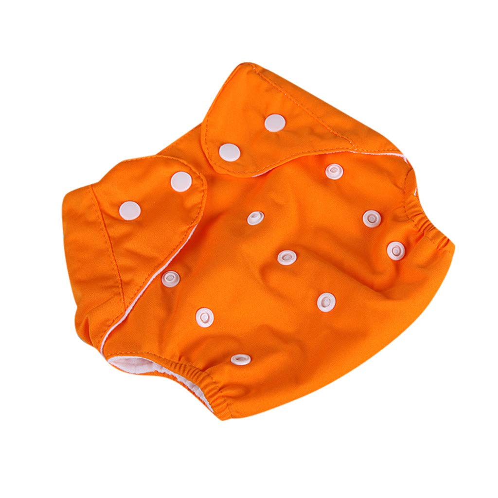 Lucoo Toddler Baby Kid Newborn Reusable Nappies Adjustable Diaper Washable Cloth Diaper (Orange)