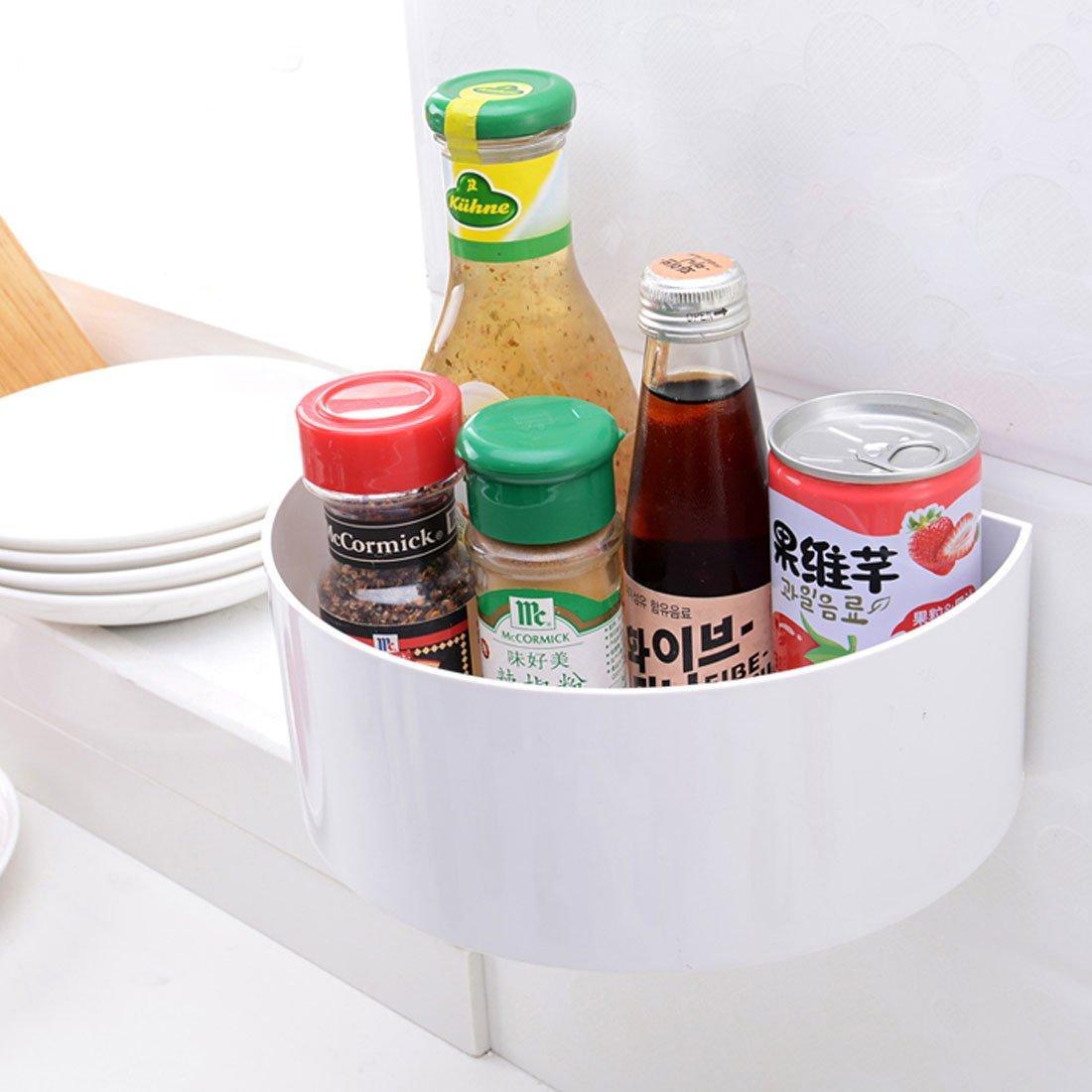 Amazon.com: eDealMax plástico de baño Corner colgar de la pared estantes que cuelgan ventosas de almacenamiento estantería de contenedores Blanca: Kitchen & ...