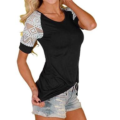 d26f83ebb9229 YANG-YI Women Fashion Summer Solid Blouse Lace T-Shirt Short Sleeve Casual  Tops