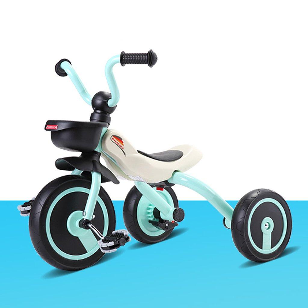 Fenfen Triciclo para niños de 2 a 5 años de edad, bicicleta para bebé, coche de bebé, bicicleta plegable para bebés, naranja, azul, rosa, 63  45  53 cm (Color : Blue)
