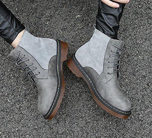 Martin Stivali Stivali 120w Grigio Britannico Nsxz Vento Stivali Donne 's Di Femminili Pelle Scarpe Con Grossi Con vxPgq