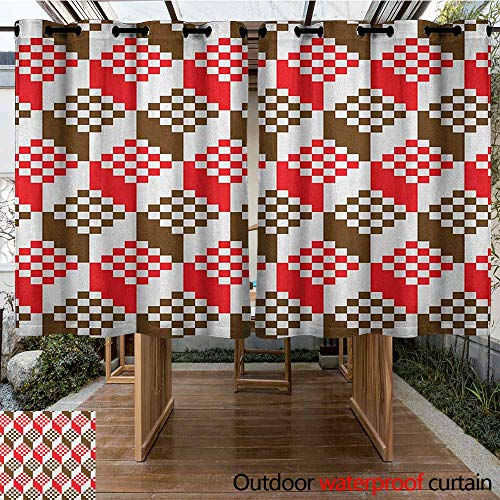 - AndyTours Grommet Outdoor Curtains,Abstract,Vintage Dimension Background Geometric Squares Artful Digital Design,for Patio/Front Porch,K140C183 Chocolate Scarlet White