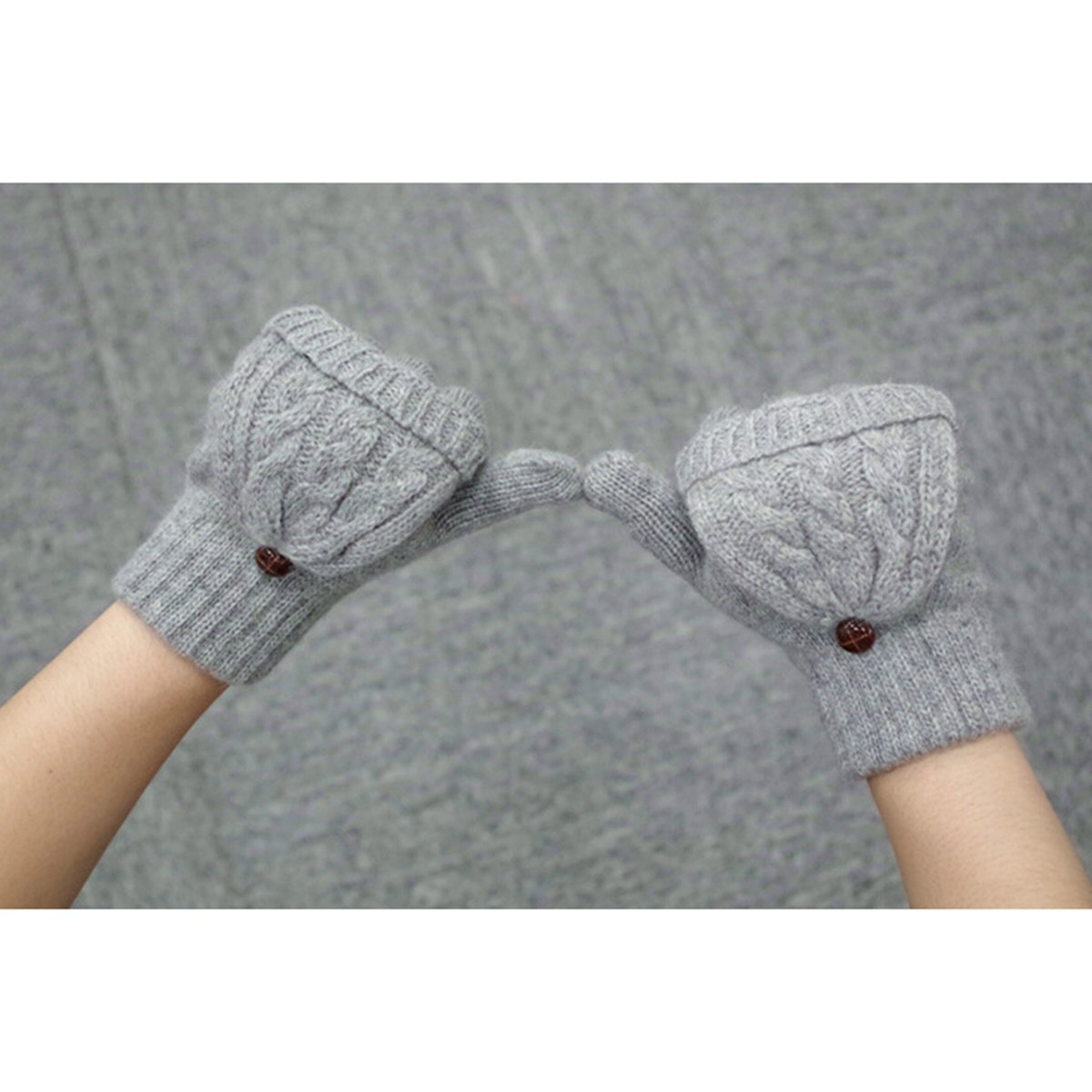 OULII Guante guantes guantes sin dedos lana guantes punto cálido invierno lana punto Convertible Fingerless de los guantes con manopla tapa (gris) - regalo de Navidad para chicas mujeres