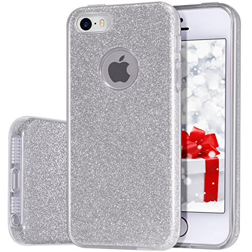 iPhone 5s/5 Case, MILPROX for Girls SHINY GLITTER CASE [Bling Crystal Clear][Extremely Sparkling], Slim Premium 3 Layer Hybrid, Anti-Slick/ Protective/ Soft Case, iPhone SE Case-Silver
