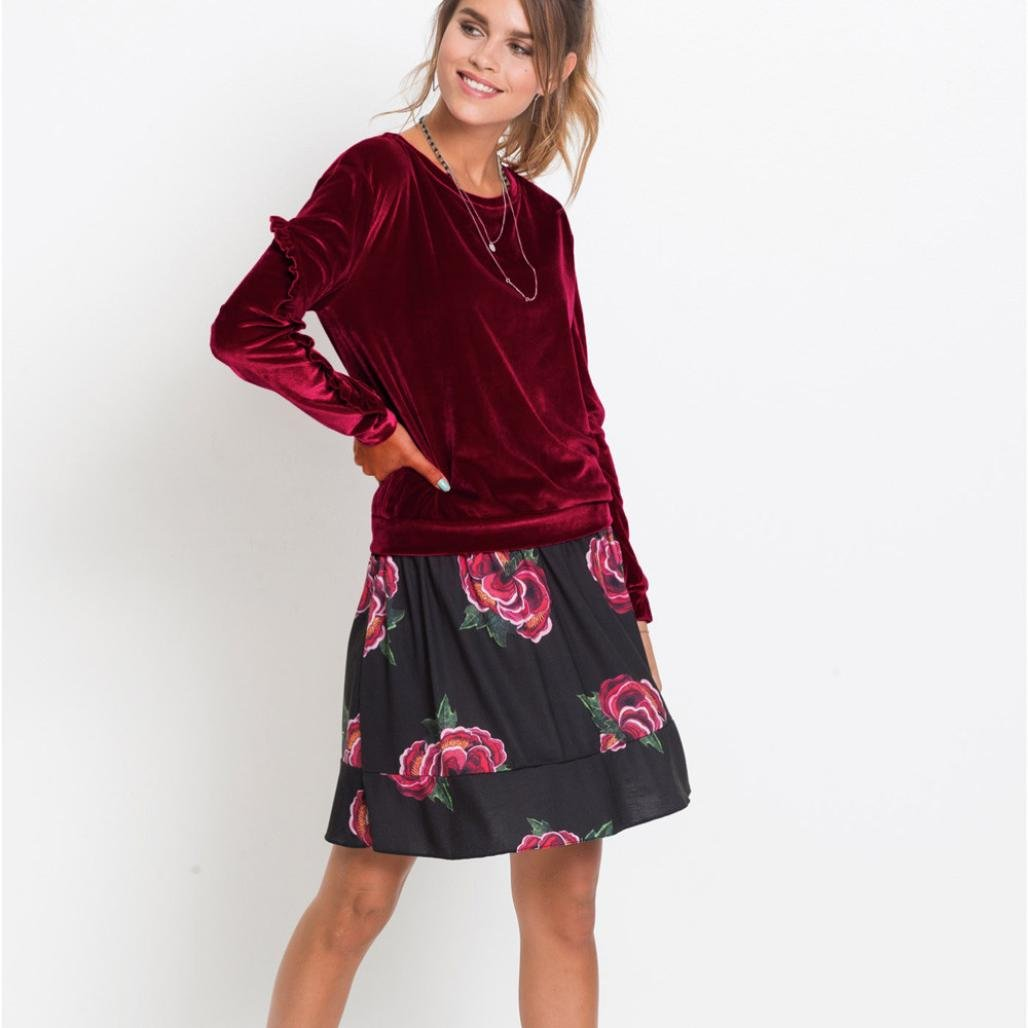 54f78d007b14a Goddessvan Women s Long Sleeve Velvet Shirt Solid Ruffles Casual Blouse Tops  T-Shirt at Amazon Women s Clothing store