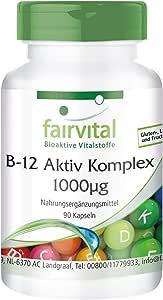 Vitamina B12 Complex 1000µg - VEGANA - Cianocobalamina + Metilcobalamina + Hidroxocobalamina - Dosis elevada - 90 Cápsulas - Calidad Alemana