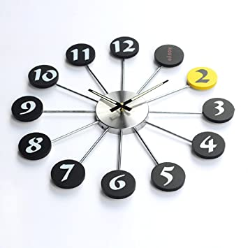 Puntero luminoso Material de metal Reloj de pared Creativo Reloj de cuarzo Decoración Reloj de pared Dormitorio Silenciar Mesa colgante Manualidades: ...