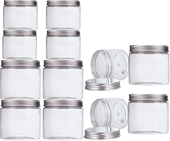 Lot de 25 pots de recharge vides en plastique transparent 15 g//ml