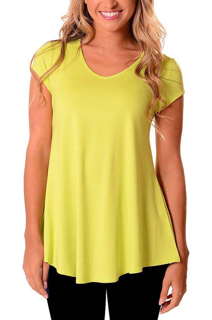 Micosuza Womens Rash Guard Swim Shirt UV Sun Protection Short Sleeve Swimwear Dress Top by Micosuza