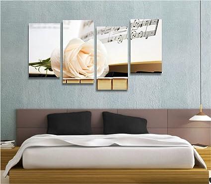 Pianoforte e rosa - Quadro moderno intelaiato 152x78 cm stampa su ...