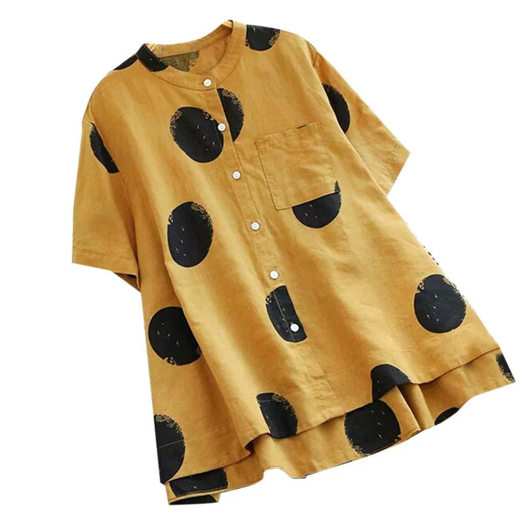 YUHUISTART Shirts Damen Elegante Übergröße V-Ausschnitt Kurzarm Aline Dress Tops Blumen Leinen Polka Dot Tasche Hemd Lang Bluse Pulli Tunika Pulli Oberteile