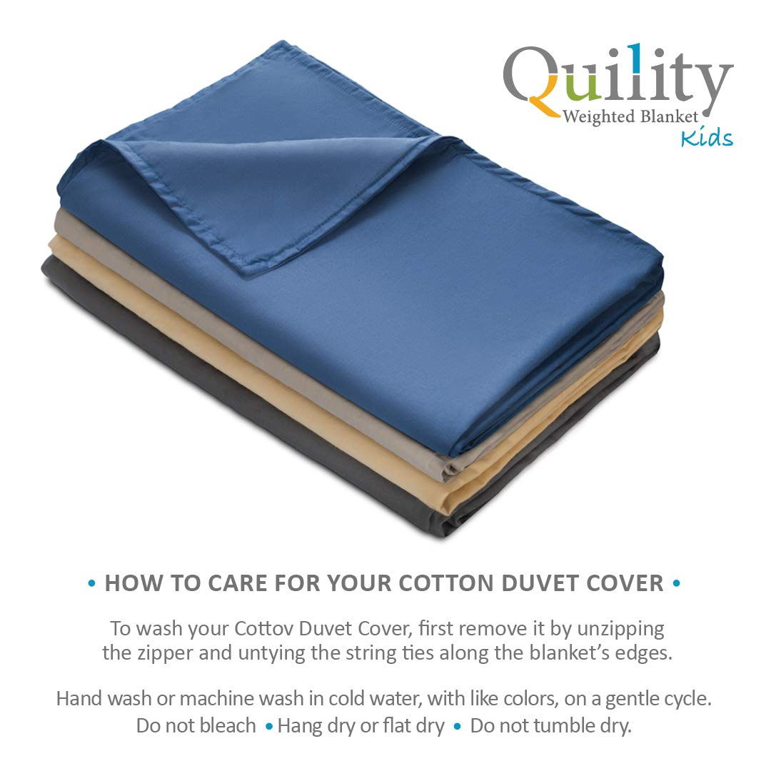 Quility Premium Adult Removable Duvet Cover for Weighted Blanket   60''x80''   Full Size Bed   100% Cotton Cover Fabric   Blue by Quility (Image #2)