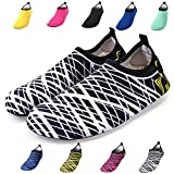 Bridawn Water Shoes for Women and Men, Quick-dry Socks Barefoot Shoes for Swim Yoga Beach Surf Aqua Sports, White Stripe, L