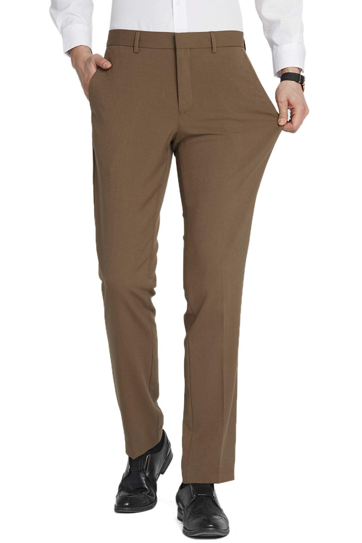 FLY HAWK Mens Tuxedo Slim Fit Business Wedding Office Suit Pants Workout Pants for Men, Khaki Dress Pants 32x32 by FLY HAWK