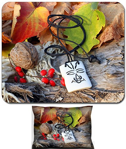 Luxlady Mouse Wrist Rest and Small Mousepad Set, 2pc Wrist Support design IMAGE: 34628313 Ethnic handmade bone magic african amulet on autumn style background