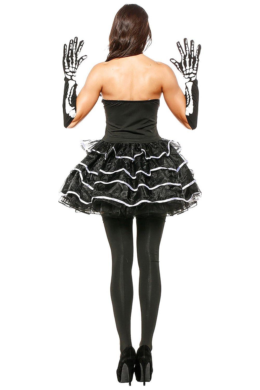 5bf326c98d Amazon.com  Hibuyer Women s Skeleton Puffy Dress Adult Halloween Skull  Masquerade Costume Party Club Dress (One Size)  Clothing