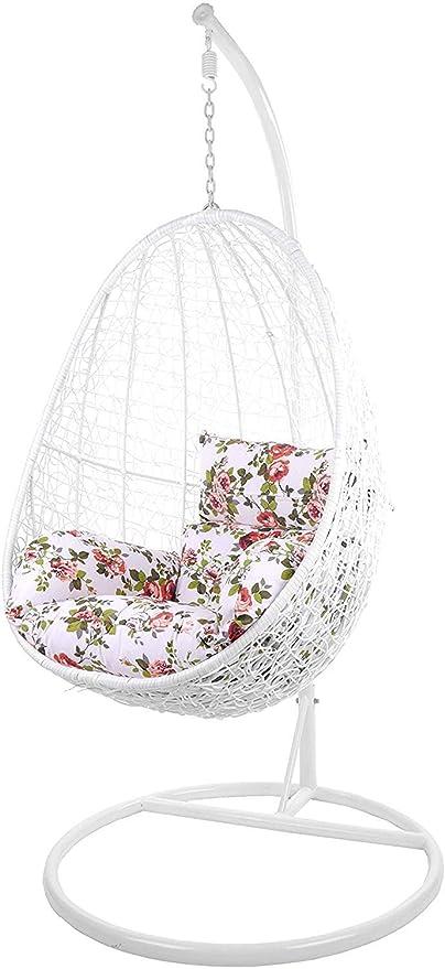 Kideo Swing Chair Sillón Colgante Hamaca Sillón de Descanso Muebles de Salón *Eyecatcher* - Blanco/Floral
