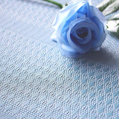 Furnily PVC Place Mats for Kitchen Table Set of 6 Heat Insulation Non Slip Plastic Dining Table Mats Crossweave Woven Placemats (Blue) by Furnily (Image #4)