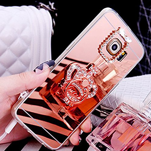 Funda Samsung Galaxy S6 EDGE con Anillo cariñoso,SainCat Suave Silicona y Brillante Caja Protectora con Chispea Diamante Bring Glitter de Transparente ultra fino Funda de silicona de goma de TPU para  Corona-Oro rosa