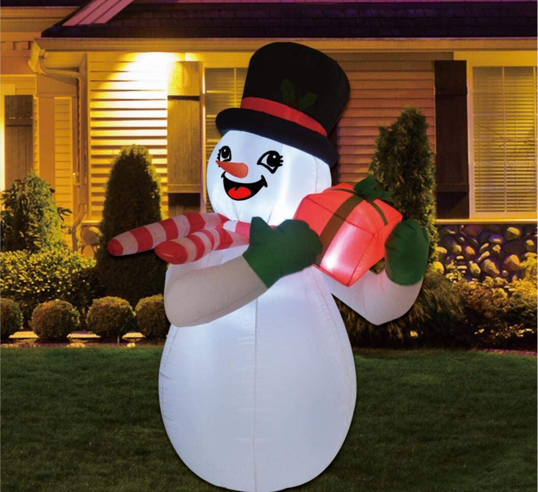 GOOSH 6 Foot Tall Christmas Inflatable Snowman with Gift Box LED Lights Indoor-Outdoor Yard Lawn Decoration - Cute Fun Xmas Holiday Blow Up Party Display