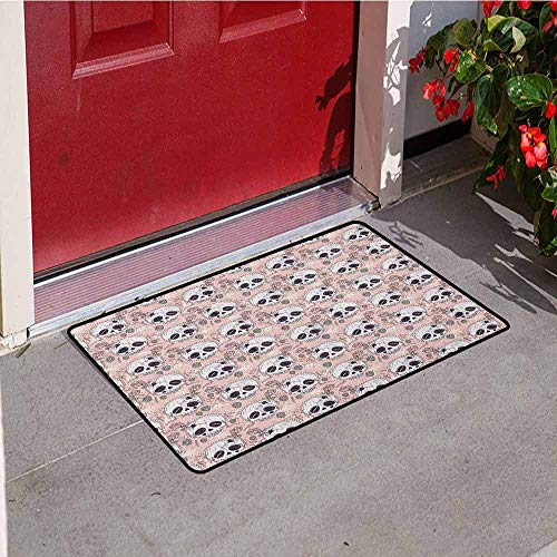Gloria Johnson Skull Welcome Door mat Halloween Traditional Mexican Sugar Day of The Dead Roses Horror Folk Pattern Door mat is odorless and Durable W15.7 x L23.6 Inch Blush White Onyx