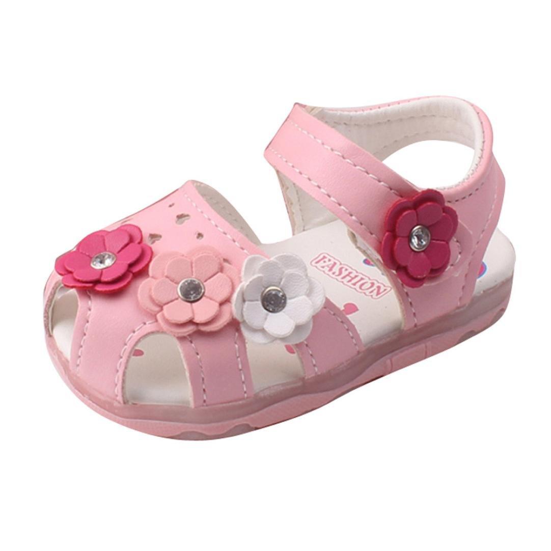 Sandalias bebé niñas verano ❤️ Amlaiworld Zapatillas Sandalias para niñas pequeñas con flores LED zapatos de bebé con suela suave Recién nacido calzado Zapatos de vestir Zapatos Princesa 0 - 4 Años