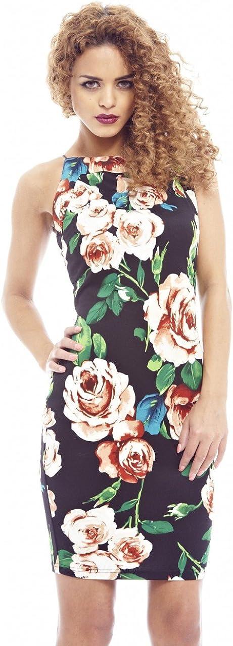 AX Paris Womens Floral String Strap Bodycon Dress