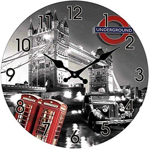 Out of the Blue Glas Uhr London Motive Durchmesser 38 cm, Wanduhr im Vintage Look mit Tower Bridge und roten Telefonzellen, a
